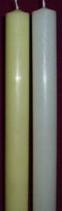 32mm diameter candle, in beeswax colour and white, available in different lengths