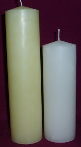 54mm diameter pillar candle, available in beeswax colour and white