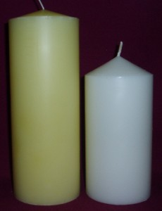 75mm diamter pillar candle, available in beeswax colour and white