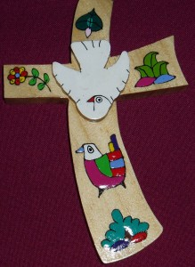 El Salvador Flower and Dove cross. A fair trade product made by a village community in El Salvador
