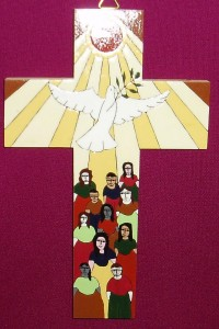 El Salvador Sun, Dove and Spirit Cross. A fair trade product made by a village community in El Salvador. A very symbolic cross for the sacrament of Confirmation