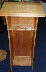 3 Sided Lectern. Australian made, of Tasmanian oak. Standing 98cm tall, the top measures 45cm square.