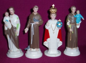 Plastic Statues, 100mm high. St Francis, St Christopher, Infant of Prague and St Anthony