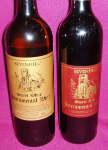 7 Hills Altar Wine; available in sweet red, sweet white, dry white; and in cartons and 10 litre casks.