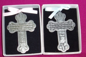 Crib Cross; metal in a gift box.; for girl or boy.