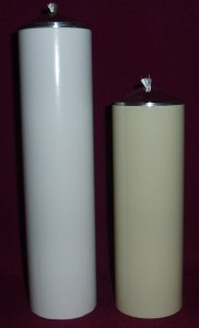 Knights Refillable Oil Candles, 5cm in diameter. Available in 15cm and 20cm lengths, and in white, cream, silver and gold.