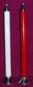 Knights Refillable Oil Candle, 22mm in diameter and 25cm tall. Available in white, cream and red.