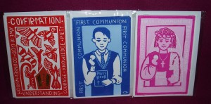 Linocut print greeting cards. Made in Australian by a local artist, these greeting cards are blank inside, and are made for all of the children's sacraments.