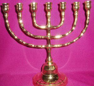 Menora: 7 branch candleholder.