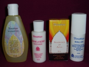 Monastique Cosmetics, produced by the Carmelite Sisters. This range includes the shampoo, roll on deodorant, fragrance of Avila perfume, and the creme of roses.