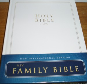 NIV Family Bible, with pages for recording family events, gold edged pages, helpful study tools.