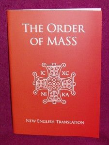 The order of Mass booklet, containing the new wording for the order of the Mass.