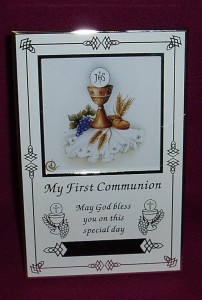 "First Communion Photo Frame, to fit a 3"" x 3"" photo."