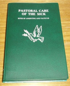 Pastoral Care of the Sick; the Rites of Anointing and Viaticum. A pocket size book.