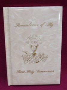 First Communion Pearl Cover Missal, with extra prayers.