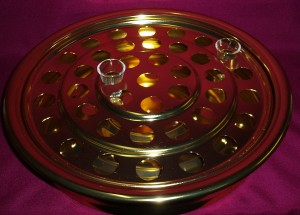 Brasstone communion tray; to hold 40 glasses; made in the U.S.A.