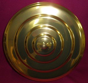 Communion Tray Cover; brasstone, to fit over the 40 glass communion tray.