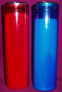 8 Day Sanctuary Candles. Available in red and blue.