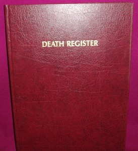 Church Registers: Death, Marriage and Baptism. Maroon hardcover.