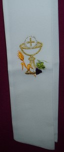 Embroidered first communion stole.