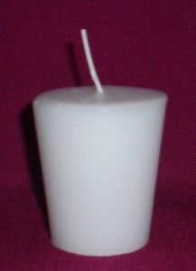 Unscented White votive candle, with a 15 hour burn time.