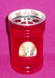 3 Day Red Candle, often used as a votive candle in churches or at home.