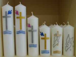 Decorated Baptism Candles, for sale off the shelf.