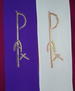 Double sided stole, available in white/purple and green/red.