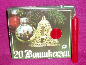 Four inch red votive candles, from Germany; in demand as Christmas candles.