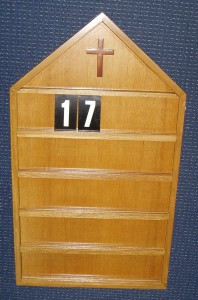 Hymn Board, handcrafted in Melbourne; made of wood.