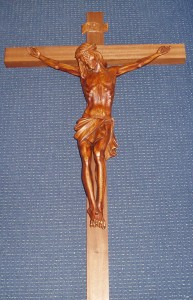 Large Wall Crucifix; wood cross with resin corpus; 1150mm tall x 630mm wide.