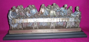 The Last Supper, a resin statue coated in bronze. 33cm wide x 14cm tall. Intricate detail.