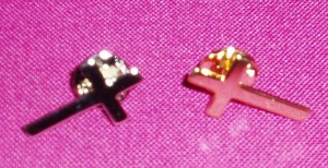 Clerical Lapel Pins; available in silver and gold; with three styles of attachment.