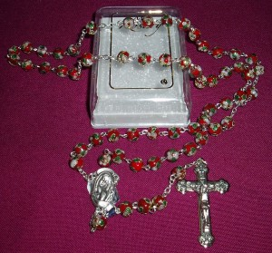 Red Cloisonne rosary;