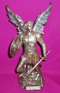 Statue of St Michael, with intricate detail. Resin statue coated in bronze.