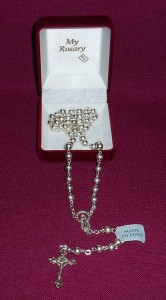 Sterling silver rosary, made in Italy.