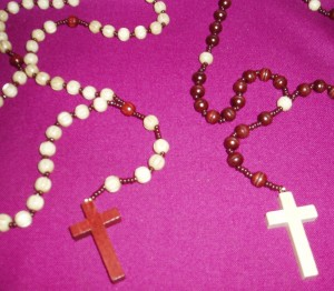 Wooden Rosary on a Cord; available in brown and white coloured beads.