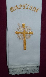Baptism Stole, hand embroidered by a Melbourne lady. Suitable for children under 18 months of age.