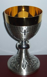 Silver chalice with grapes and wheat engraved motif