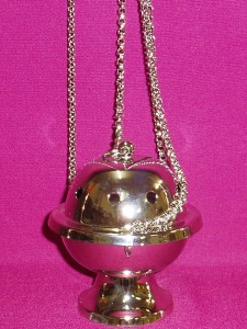 Economical silver thurible with boat. Thurible is 80mm in diameter