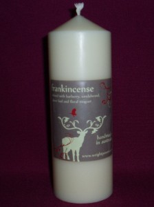 Pillar candle scented with frankincense; suitable for Christmas