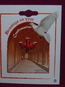 Confirmation lapel pin; red dove with gold outline