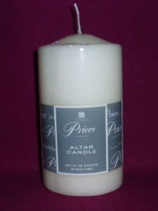 Price's ivory pillar candle; 75mm x 150mm