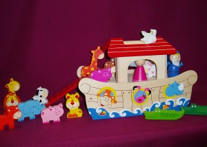Noah's Ark playset, for the young child, made of wood.
