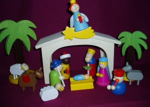 Colourful nativity set for young children, made of wood