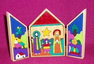 A fair trade product from El Salvador; nativity scene which opens out.