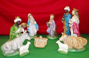Plaster nativity set with strong colouring