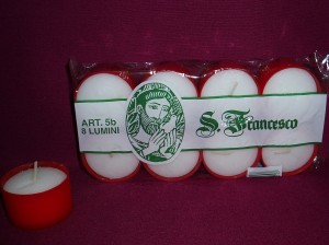 Votive candles in red plastic; packets of 8
