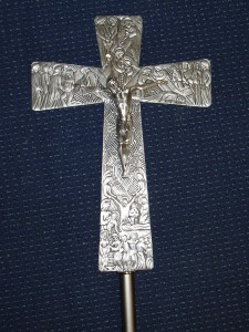 2 metre tall silver processional cross