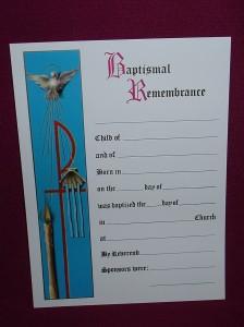 Baptism Certificate, measuring 20cm x 17cm